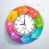 Modern arrow work time management template. Stock Image