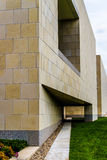 Modern Art Architecture. Modern architectural building in urban city environment. Stone block building with geometric shapes. Located in Kansas City Missouri Stock Images