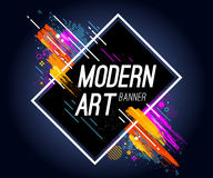 Modern Art Banner. With bright abstract design elements. Vector frame for text with dynamic lines Royalty Free Stock Photos