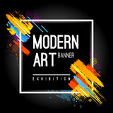 Modern Art Banner. With bright abstract design elements. Vector frame for text with dynamic paintbrush lines Royalty Free Stock Image