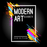 Modern Art Banner. With bright abstract design elements. Vector frame for text with dynamic paintbrush lines Stock Photos