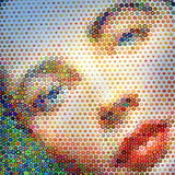 Modern Art Marilyn Monroe. Closeup woman face painting made with colored geometric figures Marilyn Monroe royalty free stock photo