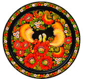 Modern art - colorfully painted souvenir plate. Arts, Souvenir - a plate with flowers and birds Stock Images