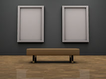 Modern art gallery. Interior of modern art gallery with a seat and frame of a painting or photograph Royalty Free Stock Image