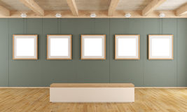 Modern art gallery with bench Royalty Free Stock Photo