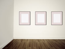 Modern art gallery Empty pictures on a wall Royalty Free Stock Photography