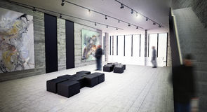 Modern art gallery interior space Stock Photo