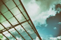Modern Art glass roof Hamburg sky minimalism golden vintage royalty free stock photography