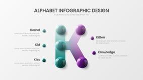Modern art K symbol vector 5 option alphabet infographic 3D realistic colorful balls presentation template. Amazing vector 5 option alphabet infographic 3D royalty free illustration