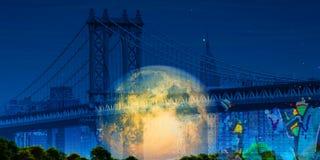 Manhattan bridge. Modern art. Manhattan bridge. Giant moon at the horizon Royalty Free Stock Photo