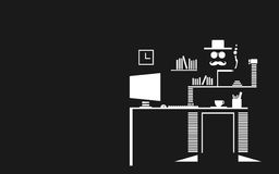 Modern Art of Mustachio Mans Office, Workplace And Royalty Free Stock Photos