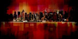 Manhattan. Modern art. New York cityscape. Manhattan. 3D rendering Royalty Free Stock Image