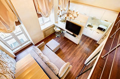 Free Modern Art Nouveau Style Two-high Living-room Interior Royalty Free Stock Photography - 29159727