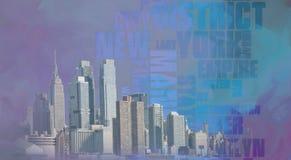 Manhattan. Modern art. NYC Landscape. Manhattan harbour Stock Photography