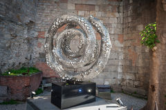 Modern art object made of aluminium in center of Barcelona town.  Royalty Free Stock Images