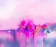 Modern art oil paintings for background. Semi- abstract image of flowers, in yellow pink and red with blue color. Abstract colorful oil painting on canvas. Semi vector illustration