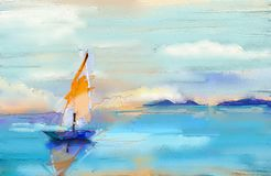 Modern art oil paintings with boat, sail on sea. Abstract contemporary art for background. Colorful oil painting on canvas texture. Impressionism image of vector illustration