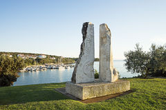 Modern art statue on the shore of the sea bay near Pula, Croatia Royalty Free Stock Photo