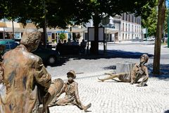 Modern art statues in Monchique, Portugal. Modern street art statues in the town centre, Monchique, Algarve, Portugal, Europe royalty free stock images