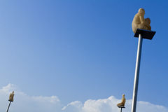 Modern art statues in the sky. Modern art in the central square, Nice stock image