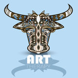 Modern art therapy poster with multicolor totem bull Stock Photos