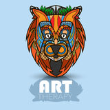 Modern art therapy poster with multicolor totem lion Royalty Free Stock Image