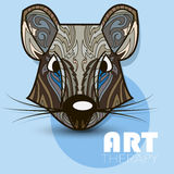 Modern art therapy poster with multicolor totem rat Stock Photo