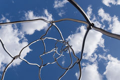 Twisted art. Modern art of twisted wire sculpture looking up to the sky Royalty Free Stock Photos