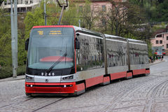 Modern Articulated City Tramway Skoda 15T Stock Photo
