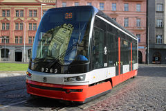 Modern Articulated City Tramway Skoda 15T Stock Images