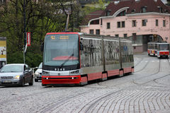 Modern Articulated City Tramway Skoda 15T Stock Photos