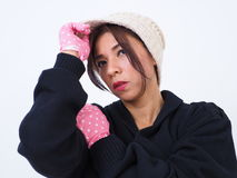 Modern Asian woman portrait with gloves and hat Royalty Free Stock Photography
