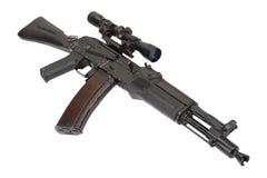 Modern assault kalashnikov rifle on white Royalty Free Stock Photography