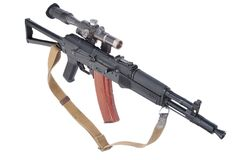 Modern assault rifle ak105 with optical sight Royalty Free Stock Image