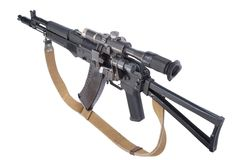 Modern assault rifle ak105 with optical sight Stock Images