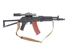 Modern assault rifle ak105 with optical sight Stock Photography