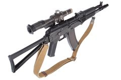 Modern assault rifle ak105 with optical sight on white Royalty Free Stock Photography