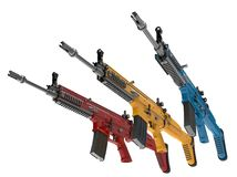 Modern assault rifles in primary colors. Isolated on white background Stock Photos