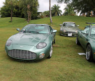 Modern aston martins. Isolated aston martin db7 zagato Royalty Free Stock Photos