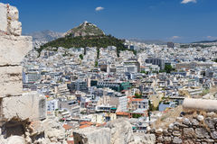 Modern Athens and Lycabettus hill Stock Photos
