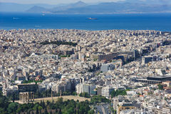 Modern Athens shot from Lycabettus hill Royalty Free Stock Photos