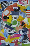 Modern Atmosphere color  blue, red, yellow, green,orange, black and white mood board collage sheet made of teared magazine paper w. Ith figures, letters, colors Stock Images