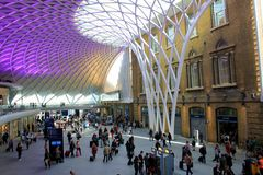 Modern Atrium at London Eurostar Station. St. Pancras/ Kings Cross station in London for Eurostar trains Royalty Free Stock Photography