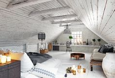 Modern attic bedroom design. Royalty Free Illustration