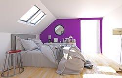 Modern attic bedroom. Interior, 3d render concept vector illustration
