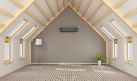 Modern attic without furniture Stock Photo