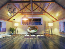 Modern attic interior Royalty Free Stock Image