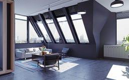 Modern attic loft interior Stock Images