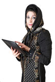 Modern attractive arabic woman with tablet pc. Picture of a modern attractive arabic woman with tablet pc Stock Images