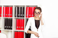 Modern Attractive Business Woman In Office Interrior Stock Photo